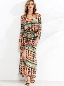 Vestido escote V teñido anudado abertura - multicolor