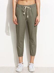 Olive Green Drawstring Waist Elastic Hem Peg Pants