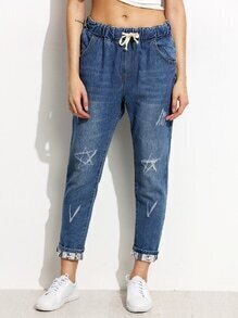 Blue Distressed Drawstring Jeans With Printed Lining Detail