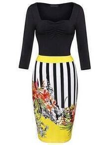 Multicolor Printed Shirred Square Neck Pencil Dress