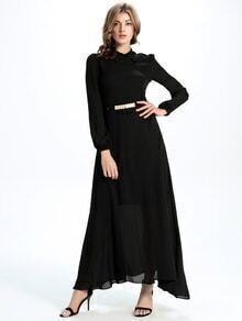 Black Belted Puff Sleeve Shirt Dress