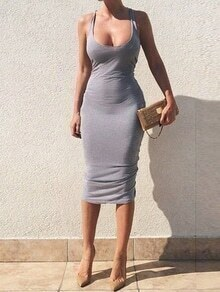 Grey Scoop Neck Ruched Midi Tank Dress