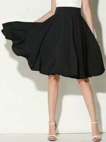 Black Wide Waistband Circle Skirt