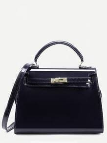Black Turnlock Strap Closure Plastic Satchel Bag