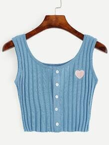 Blue Contrast Heart Embroidery Knit Crop Top
