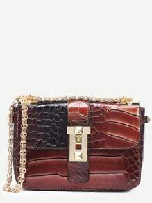 Coffee Crocodile Embossed Strap Front Flap Bag
