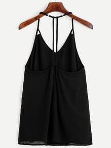 Black Halter Hollow Out Cami Top