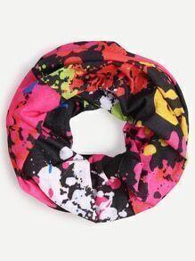 Multicolor Paint Splatter Print Infinity Scarf