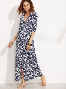 Blue V Neck Floral Split Front Dress With Belt