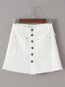 White Single Breasted Pocket Skirt