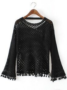 Suéter hueco cuello redondo con flecos - negro