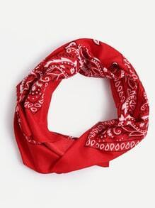 Red Paisley Print Square Scarf