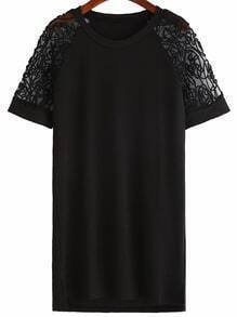 Vestido aplique manga raglán holgado - negro