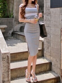 Grey Contrast Panel Slit Pencil Dress