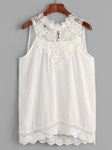 White Crochet Trim Sleeveless Blouse