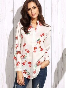 White Flower Print Button Front Blouse