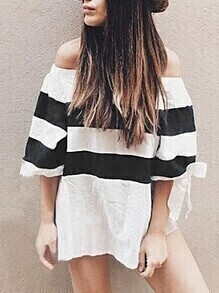 Contrast Striped Off The Shoulder Tie Sleeve Top