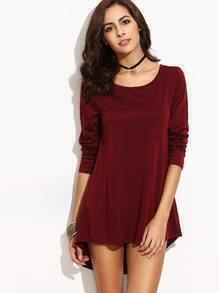 Burgundy High Low T-shirt Dress