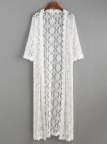 White Lace Crochet Long Kimono