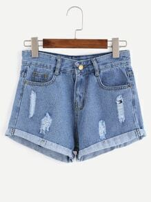 Blue Ripped Cuffed Denim Shorts