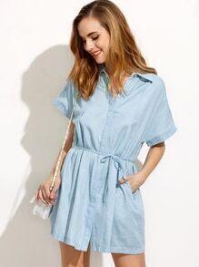 Vestido camisero denim cintura con cordón - azul