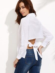 White Long Sleeve Knotted Back Asymmetrical Blouse