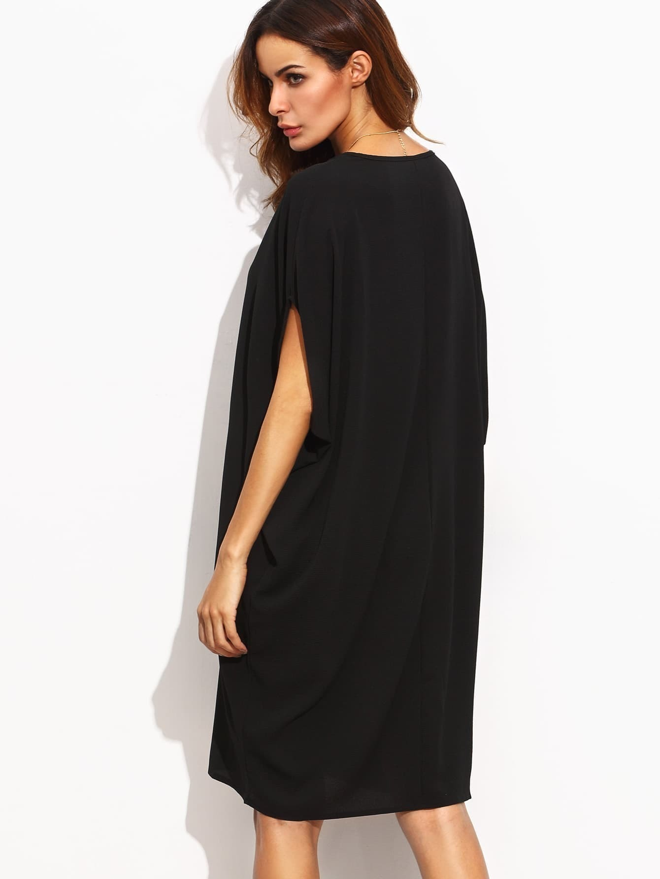 robe plain col v couleur unie noir french romwe With robe noire col v