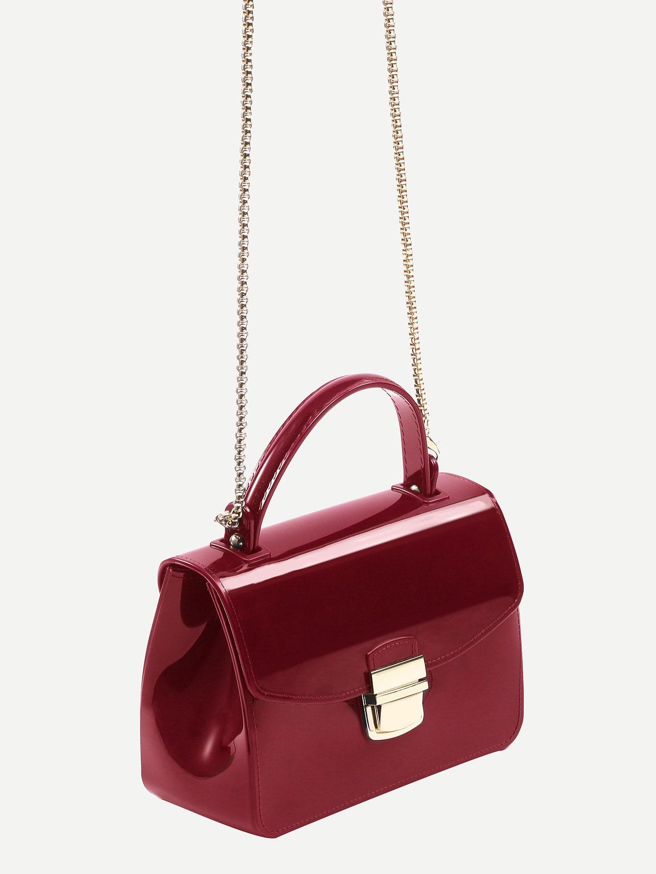 sac cartable main avec fermoir verrou rouge french romwe. Black Bedroom Furniture Sets. Home Design Ideas