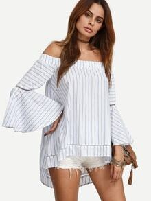 Blue Striped Off The Shoulder High-low Blouse