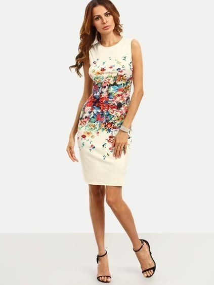 Multicolor Print Sleeveless Sheath Dress