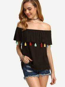 Dark Brown Tassel Off The Shoulder Blouse