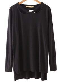 Black Cutout High Low Plain T-shirt