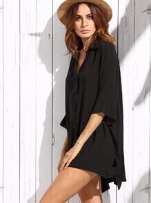 Black Button Front Oversized Shirt Dress