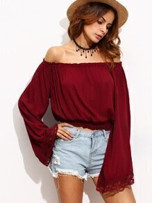 Burgundy Lace Trim Bell Sleeve Off The Shoulder Top