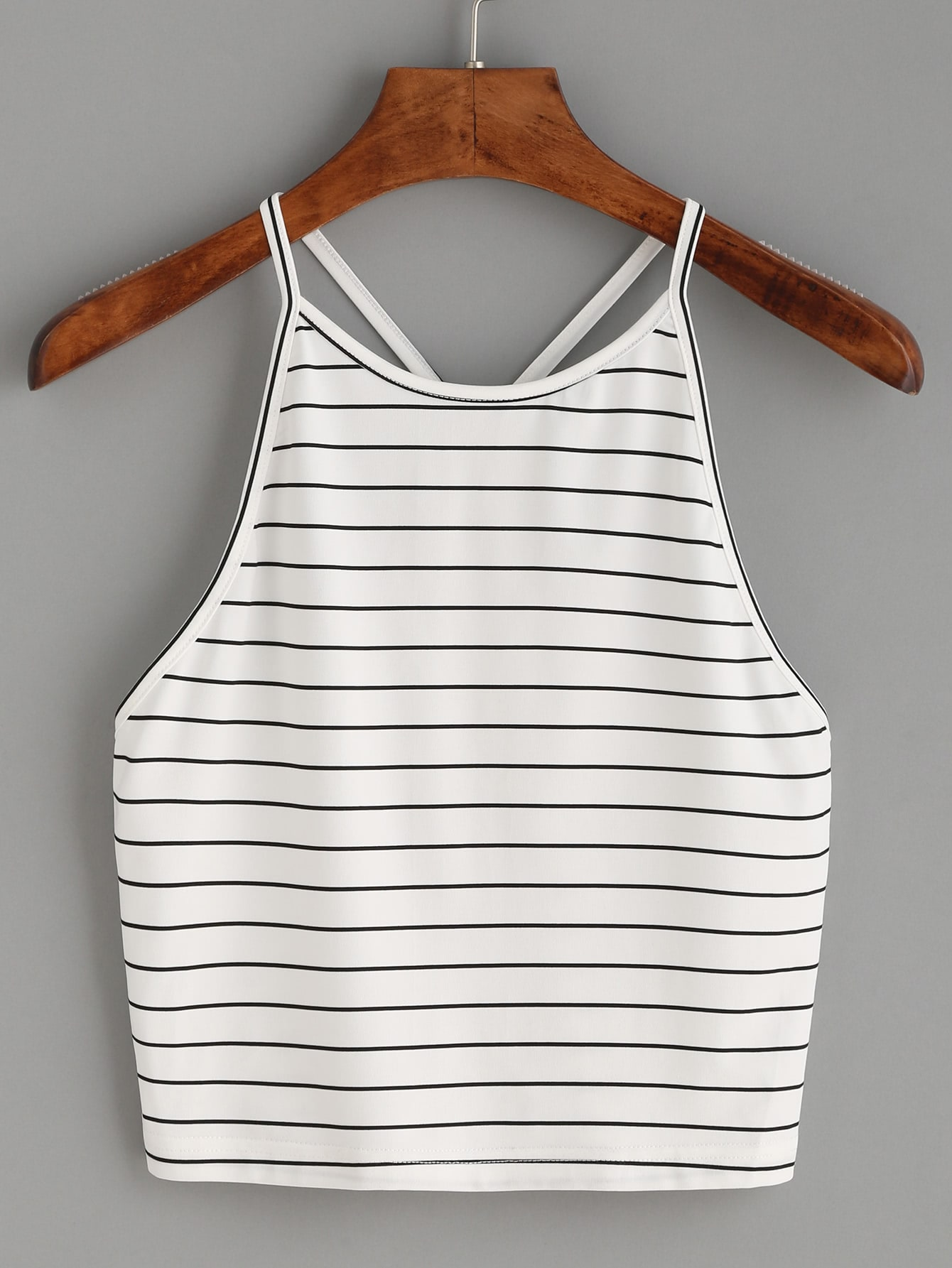 White Striped Y Back Cami Top vest160721005