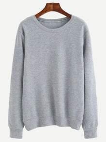 Sweat-shirt imprimé lettres manche longue - gris