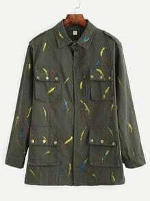 Manteau imprimé col à revers manche longue - olivacé