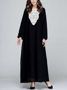 Black Crochet Applique Lantern Sleeve Long Dress