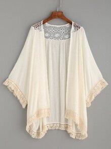 Beige Crochet Insert Fringe Trim Kimono
