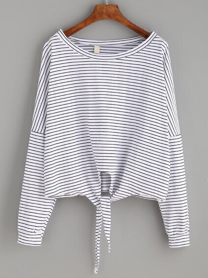 White Striped Tie Front T-shirt