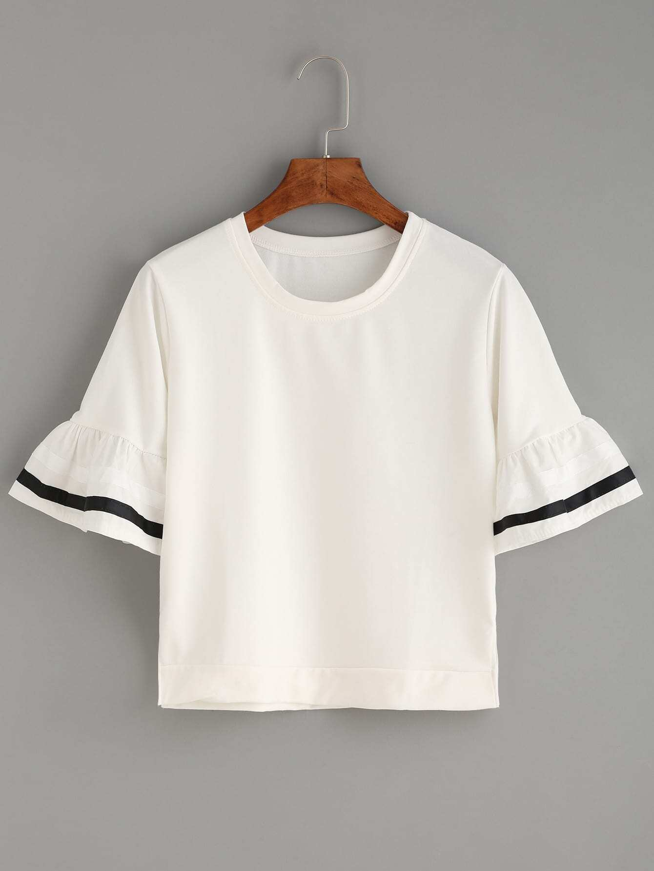 White striped ruffle sleeve t shirt for Frill sleeve t shirt