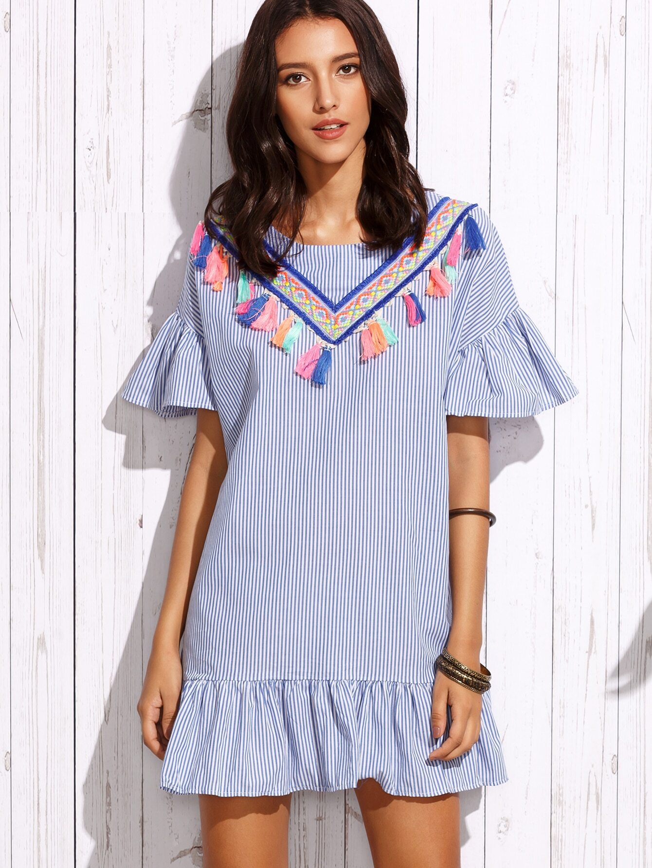 Vertical Stripe  Embroidered  Dress With Ruffles