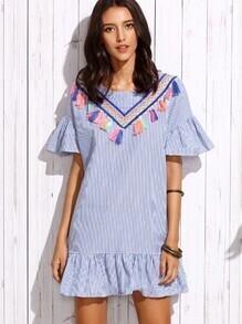 Vestido rayas verticales volantes con detalle de cinta bordada - azul