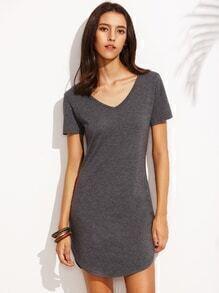 Heather Grey Curved Hem T-shirt Dress