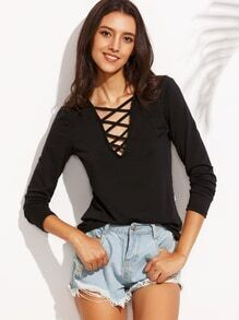 Black Cutout Lattice V Neck T-shirt