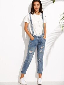Blue Ripped Embroidered Denim Jeans With Strap