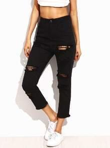 Jeans moulants effet déchiré - noir