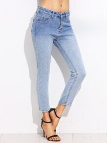 Blue Ombre Skinny Ankle Jeans