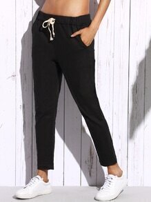 Black Drawstring Waist Ankle Jeans