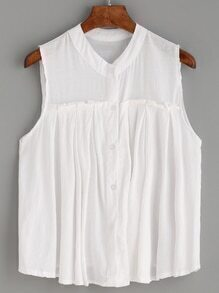 White Sleeveless Button Front Pleated Blouse